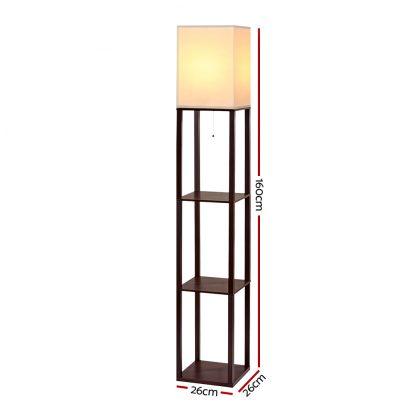 Artiss Shelf Floor Lamp Vintage Wood Reading Light Storage Organizer Home Office