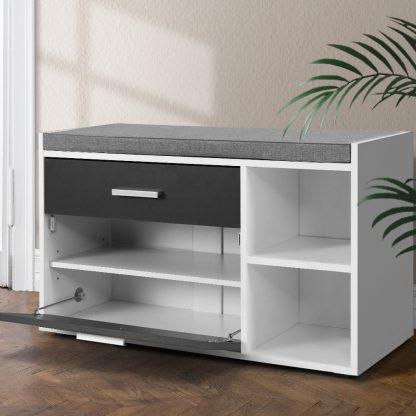 Artiss Shoe Cabinet Bench Shoes Storage Organiser Rack Wooden Cupboard Fabric Seat Adjustable Shelf