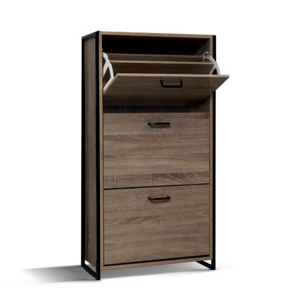Artiss Shoe Cabinet Shoes Storage Rack Wooden Organiser Up to 24 Pairs Shelf Cupboard Metal Frame
