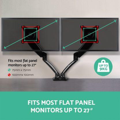 2 Arms Adjustable Monitor Screen Holder - Black