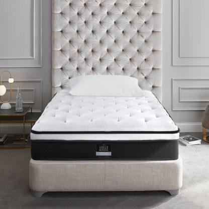 Giselle Bedding Single Size Mattress Euro Top Bed Bonnell Spring Foam 21cm