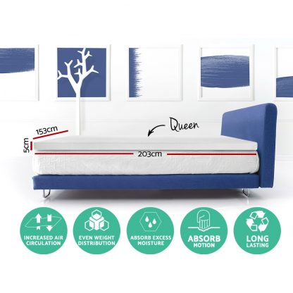 Giselle Bedding Memory Foam Mattress Topper Queen Size 5cm Underlay Fabric Cover