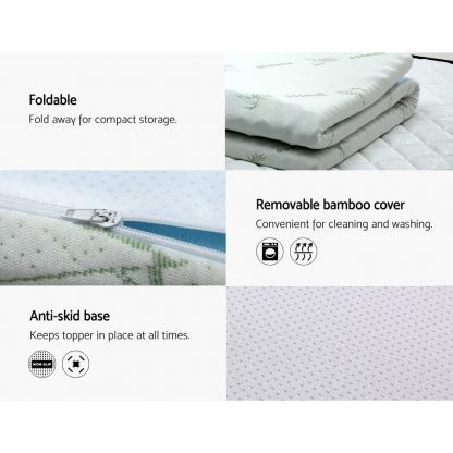 Giselle Bedding Cool Gel Memory Foam Mattress Topper Bamboo Cover 5CM 7-Zone Queen