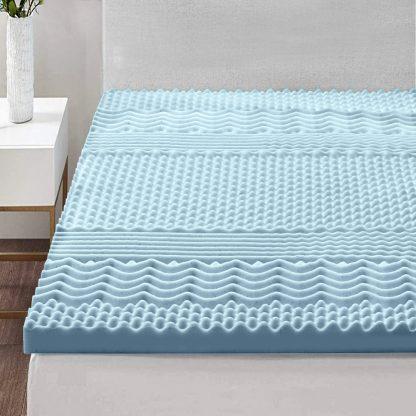 Giselle Bedding Cool Gel Memory Foam Mattress Topper Bamboo Cover 5CM 7-Zone Single