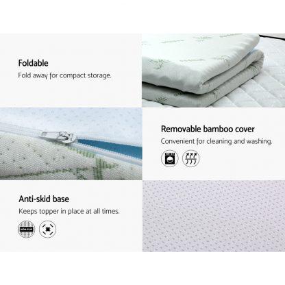 Giselle Bedding Cool Gel Memory Foam Mattress Topper Bamboo Cover 8CM 7-Zone King