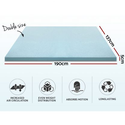 Giselle Bedding Cool Gel Memory Foam Mattress Topper Bamboo Cover 5CM Double