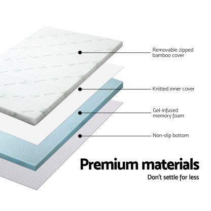 Giselle Bedding COOL GEL Memory Foam Mattress Topper BAMBOO Cover Queen 5CM Mat