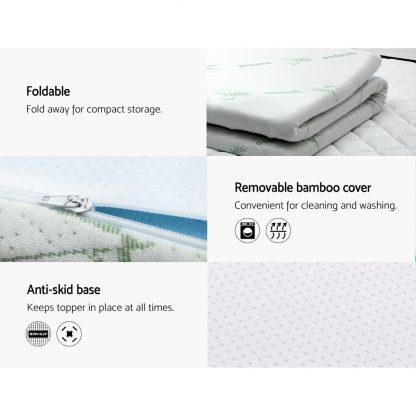 Giselle Bedding COOL GEL Memory Foam Mattress Topper BAMBOO Cover Single 5CM Mat