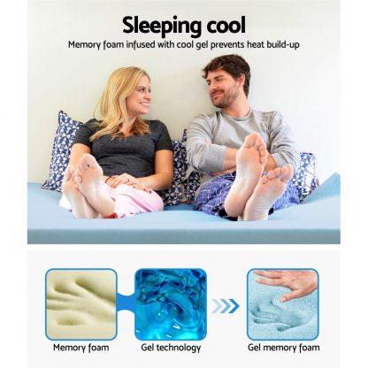 Giselle Bedding COOL GEL Memory Foam Mattress Topper BAMBOO Cover Queen 8CM Mat