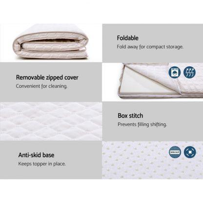 Giselle Bedding Memory Foam Mattress Topper Bed Underlay Cover Single 7cm