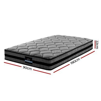 Giselle Bedding Single Size Mattress Bed Medium Firm Foam Pocket Spring 22cm Grey