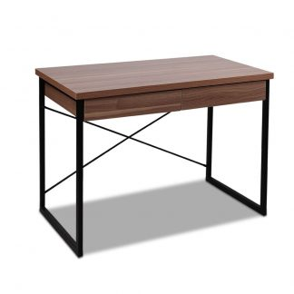 Artiss Metal Desk with Drawer - Walnut