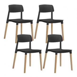 Artiss 4x Belloch Replica Dining Chairs Kichen Cafe Stackle Beech Wood Legs Black