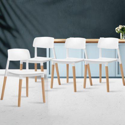 Artiss 4x Belloch Replica Dining Chairs Kichen Cafe Stackle Beech Wood Legs White