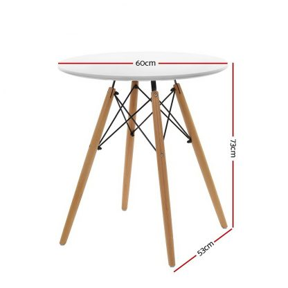 Artiss Round Dining Table 4 Seater 60cm White Replica Eames DSW Cafe Kitchen Retro Timber Wood MDF Tables