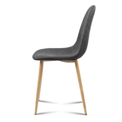 Artiss 4x Adamas Fabric Dining Chairs - Dark Grey