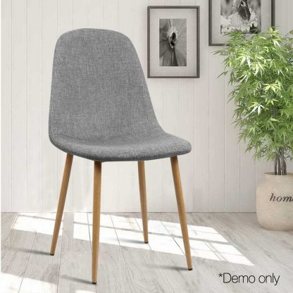 Artiss 4x Adamas Fabric Dining Chairs - Light Grey