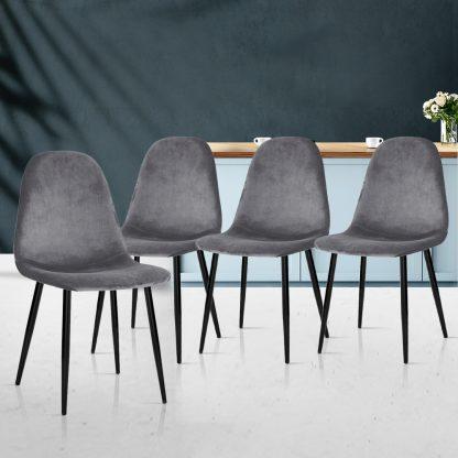 4 X Artiss Dining Chairs Dark Grey
