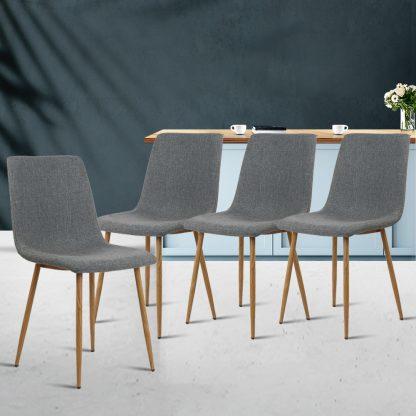 Artiss 4X Collins Dining Chairs - Dark Grey