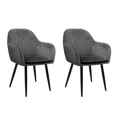 Artiss Dining Chairs Retro Chair Metal Legs Replica Armchair Velvet Grey x2