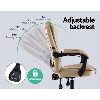 Artiss Massage Office Chair Gaming Chair Recliner Computer Chairs Khaki