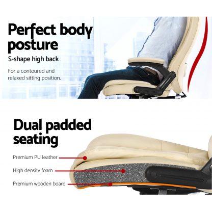 8 Point PU Leather Reclining Massage Chair - Beige