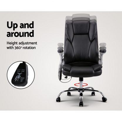 8 Point PU Leather Massage Chair - Black
