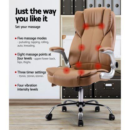 Artiss Massage Office Chair Gaming Chair Computer Desk Chair 8 Point Vibration Espresso