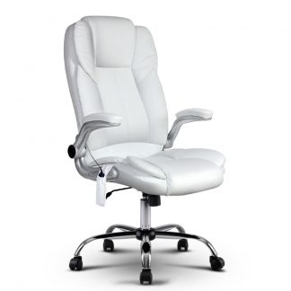 PU Leather 8 Point Massage Office Chair - White
