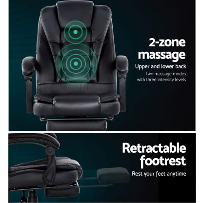 Artiss Electric Massage Office Chairs Recliner Computer Gaming Seat Footrest Black