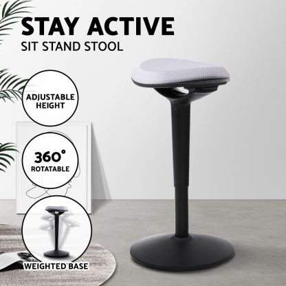 Sit Stand Stool Active Motion Stools Office Chair School For Standing Desk Grey