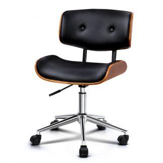 Artiss Wooden & PU Leather Office Desk Chair - Black