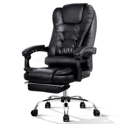 PU Leather Reclining Chair with Footrest - Black