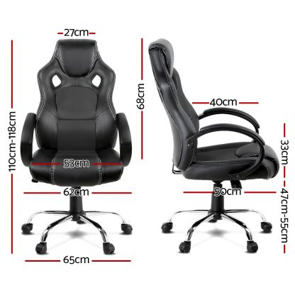 Racing Style PU Leather Office Desk Chair - Black