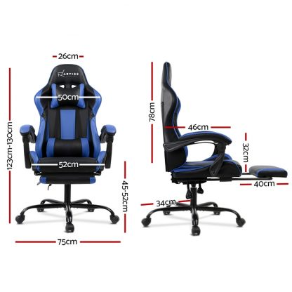 Gaming Office Chair Computer Seating Racer Black and Blue