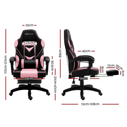 Artiss Office Chair Computer Desk Gaming Chair Study Home Work Recliner Black Pink