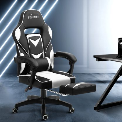 Artiss Office Chair Computer Desk Gaming Chair Study Home Work Recliner Black White