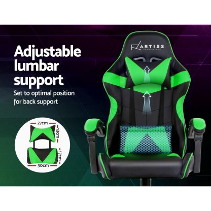 Artiss Office Chair Gaming Chair Computer Chairs Recliner PU Leather Seat Armrest Black Green