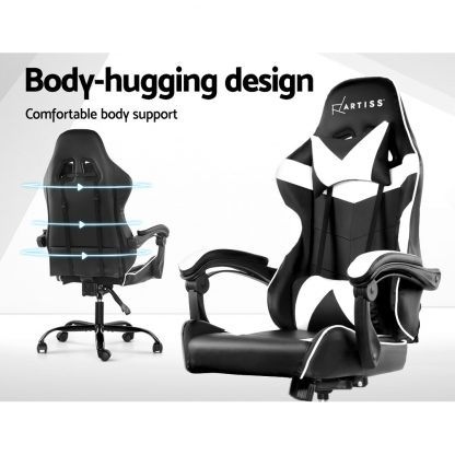 Artiss Gaming Office Chairs Computer Seating Racing Recliner Racer Black White