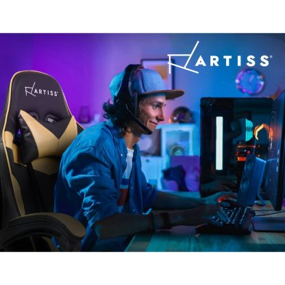 Artiss Office Chair Gaming Chair Computer Chairs Recliner PU Leather Seat Armrest Footrest Black Golden