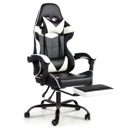 Artiss Gaming Office Chairs Computer Seating Racing Recliner Footrest Black White