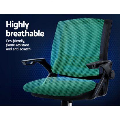 Artiss Office Chair Veer Drafting Stool Mesh Chairs Flip Up Armrest Black
