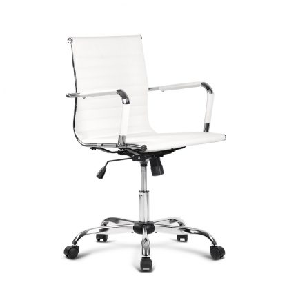 Artiss Eamon Gaming Office Chair Computer Desk Chairs Home Work Study White Mid Back