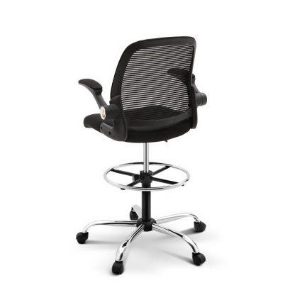 Veer Drafting Stool Office Chair Mesh Adjust Black