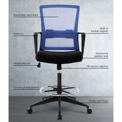 Artiss Office Chair Veer Drafting Stool Mesh Chairs Black Standing Chair Stool