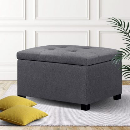 Artiss Storage Ottoman Blanket Box Linen Foot Stool Chest Couch Bench Toy Rest