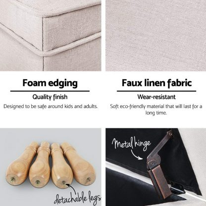 Artiss Fabric Storage Ottoman - Beige