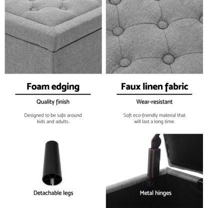 Artiss Storage Ottoman Blanket Box Linen Fabric Chest Foot Stool Toy Bench Grey