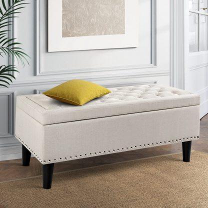 Artiss Fabric Storage Ottoman - Taupe