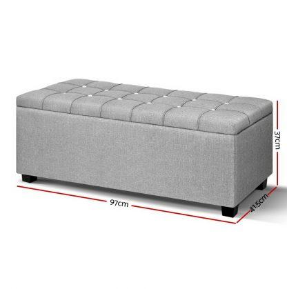 Artiss Blanket Box Storage Ottoman Fabric Foot Stool Grey